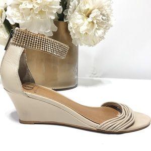 Kelsi Dagger Keller Wedge Sandals Jeweled Strap 8M